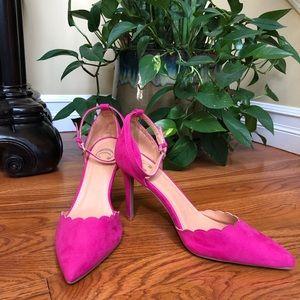 Bright Pink Suede Charming Charlie Heels